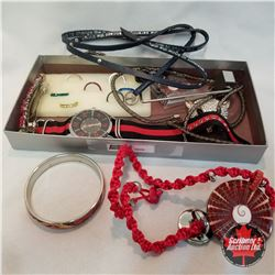 Purse Grouping: 1 Purse Holder; 8 Rings; 2 Pair Earrings; 1 Necklace; 2 Bracelets; 1 Hair Clip