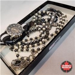 Jewellery Grouping:1 Watch; 1 Pair Earrings; 1 Bracelet; 4 Necklaces