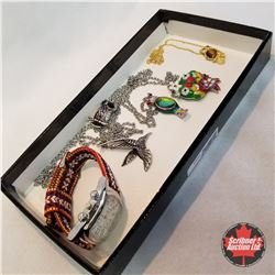 Jewellery Grouping:  5 Bird Necklaces; 1 Watch