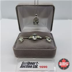 Set: Green Amethyst Necklace, Ring (Size 10) Earrings - Sterling Silver - Platinum Bond Overlay