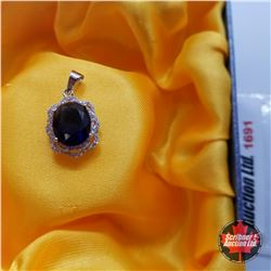 Pendant: Simulated Blue Sapphire & Simulated Diamond - Sterling Silver
