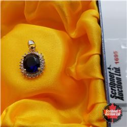 Pendant: Simulated Blue Sapphire - Sterling Silver