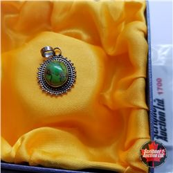 Pendant: Green Turquoise - Sterling Silver