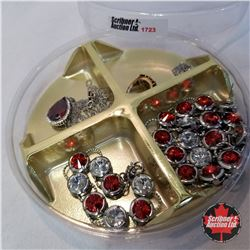 Jewellery Group: Ruby Red Theme: 1 Ring (Size 7); 1 Bracelet; 4 Necklaces; 1 Pair Earrings;