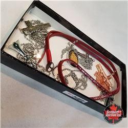 Jewellery Group: 6 Cross/Religious Necklaces; 1 Serenity Prayer Bracelet