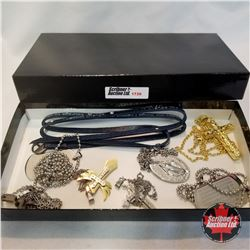 Jewellery Group: 7 Cross/Religious Necklaces; 1 Serenity Prayer Bracelet