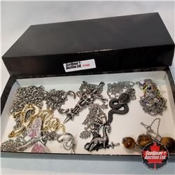 Jewellery Group: 1 Chain; 1 Pair Earrings; 1 Ring (Size 7); 8 Necklaces
