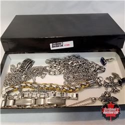 Jewellery Group: 1 Pair Cufflinks; 4 Metal Bracelets; 4 Necklaces