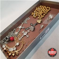 Jewellery Group: Some Religious Themed Items: 5 necklaces; 2 Pair Earrings; 2 Pendants; 1 Rosary