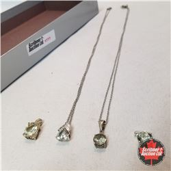 Jewellery Group: 4 Green Amethyst necklaces & Pendants