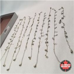 Jewellery Group: 10 Silver Anklets