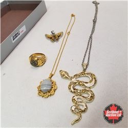 Jewellery Group: 1 Pendant; 2 necklaces; 1 Ring (size 10)