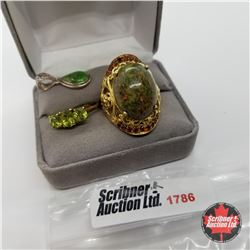 Jewellery Group: Unite Ring (Size 7); Peridot Ring (Size 7) Green Mojave Turquoise Pendant