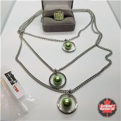 Jewellery Group: Bead Shell Pearl Necklace; Ring (Size 7)