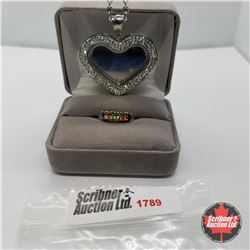 Jewellery Group: Heart Mirror Necklace; simulated Sapphire Ring (Size 6)