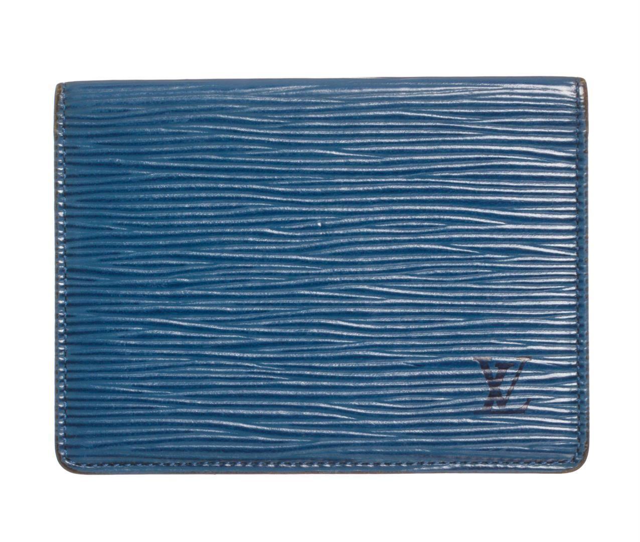 13a6561e Louis Vuitton Blue Epi Leather ID Card Holder Wallet