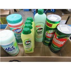Box full of Cleaners / Clorox / VIM / Wipes & Wet Ones