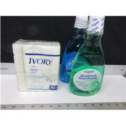 10 Pack of Ivory Bar Soap full size 90g bars & 2 New Mouth Wash