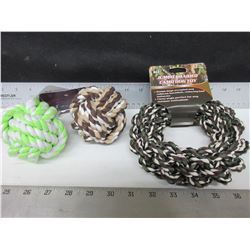 3 New Dog Toy's / 2 Braided Rope Balls & Braided Hoop