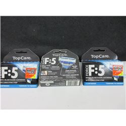 3 Boxes Force F:5 Men's 5 Blade Razor Cartridges with Lube Strip / 4 per box
