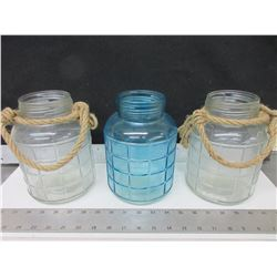 3 Glass Bottles 8 inch / 2 clear 1 Blue