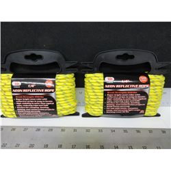 "2 New 1/4"" Neon Reflective Rope 50ft / High Visibility perfect for Camping"