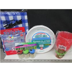 Camping Bundle / Paper Plates , Cups , Cutlery , Tablecloth & Toothpics