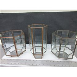 "3 Glass & Copper Candle Lanterns / 2 are 7.5 high / 1 is 10"" high"