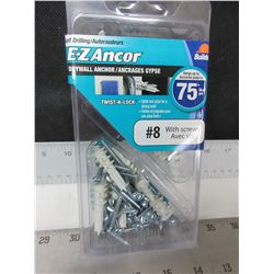 New E-Z Anchor Drywall Anchor # 8  / 50 pieces with screws