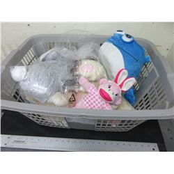 New Laundry Basket full of New Stuffed Animals / bunny's,monkey,shark
