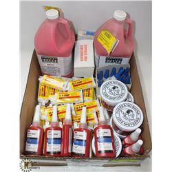 FLAT OF ASSORTED ADHESIVES, METAL POLISH,