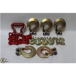 FLAT OF ASSORTED HEAVY DUTY CLEVIS HOOKS & LINK