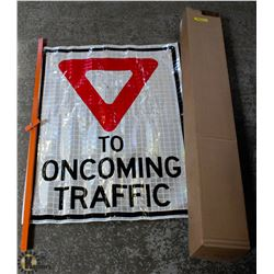 2 YIELD TO ONCOMING TRAFFIC ROLL UP REFLECTIVE