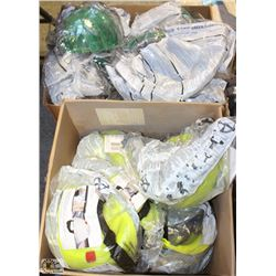 2 BOXES OF ASSORTED NEW GREEN MSA & 3M HARD HATS