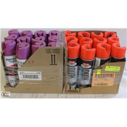 2 CASES OF RED & PURPLE COMMERCIAL MARKING PAINT