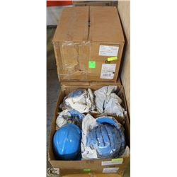 3 NEW BOXES OF BLUE HARD HATS