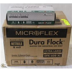 CASE OF DURAFLOCK DISPOSABLE NITRILE GLOVES-XL