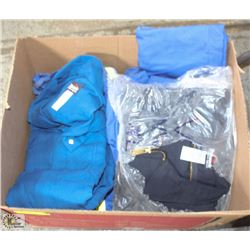 BOX W/ 5 ASSORTED BULWARK SAFETY COVERALLS / JACKE