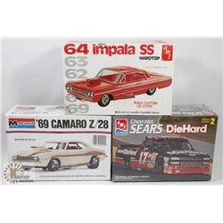 LOT OF 3 VINTAGE MODEL KITS - 69 CAMARO & 64
