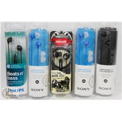 BAG OF ASSORTED HEADPHONES
