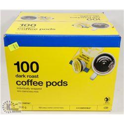 CASE OF 100 DARK ROAST COFFEE PODS