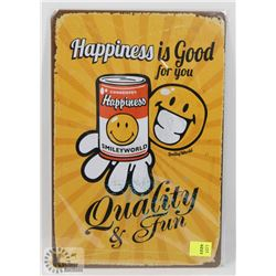 "NEW! 8"" X 12"" HAPPINESS METAL SIGN"