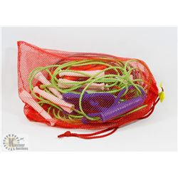 RED MESH BAG FULL OF SKIP ROPES - VINYL
