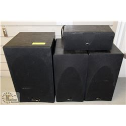 SET OF MIRAG SPEAKERS INCL POWERED SUBWOOFER.