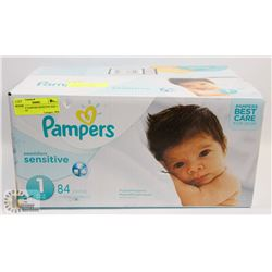CASE OF PAMPERS SENSITIVE SIZE 1- 84 COUNT