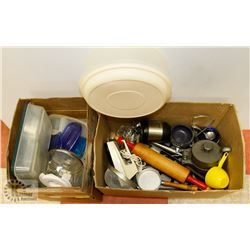 TWO BOXES OF ESTATE KITCHEN ITEMS INCLUDING