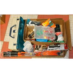 BOX OF SPORTS/FISHING MISCELLANEOUS