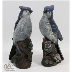 """PAIR OF 8"""" CERAMIC BLUE BIRD FIGURES"""