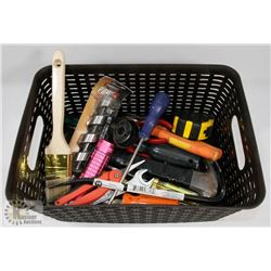 BIN OF ESTATE TOOLS THAT INCLUDES A NEW 1-1/8