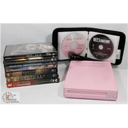 PINK DVD PLAYER WITH 30 PLUS DVD'S INCLUDING SEASON